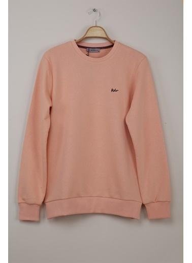 Z Giyim Yuvarlak Yaka Pamuklu Basic Sweatshirt Somon